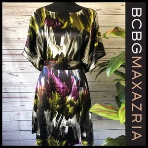 BCBGMaxazria watercolor abstract belted dress